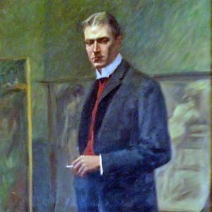 Gustaf Hellström, detalj ur målning.