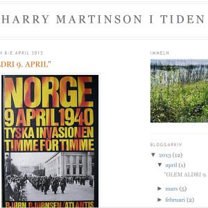 """Mycket mer att läsa på bloggen """"Harry Martinson i tiden""""."""