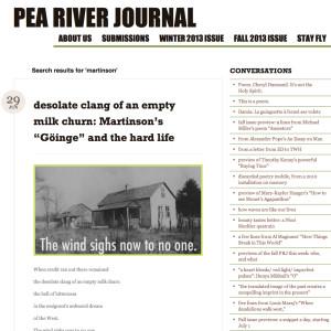 """Pea River Journal uppmärksammade bland annat Robin Fultons översättning av """"Göinge""""."""