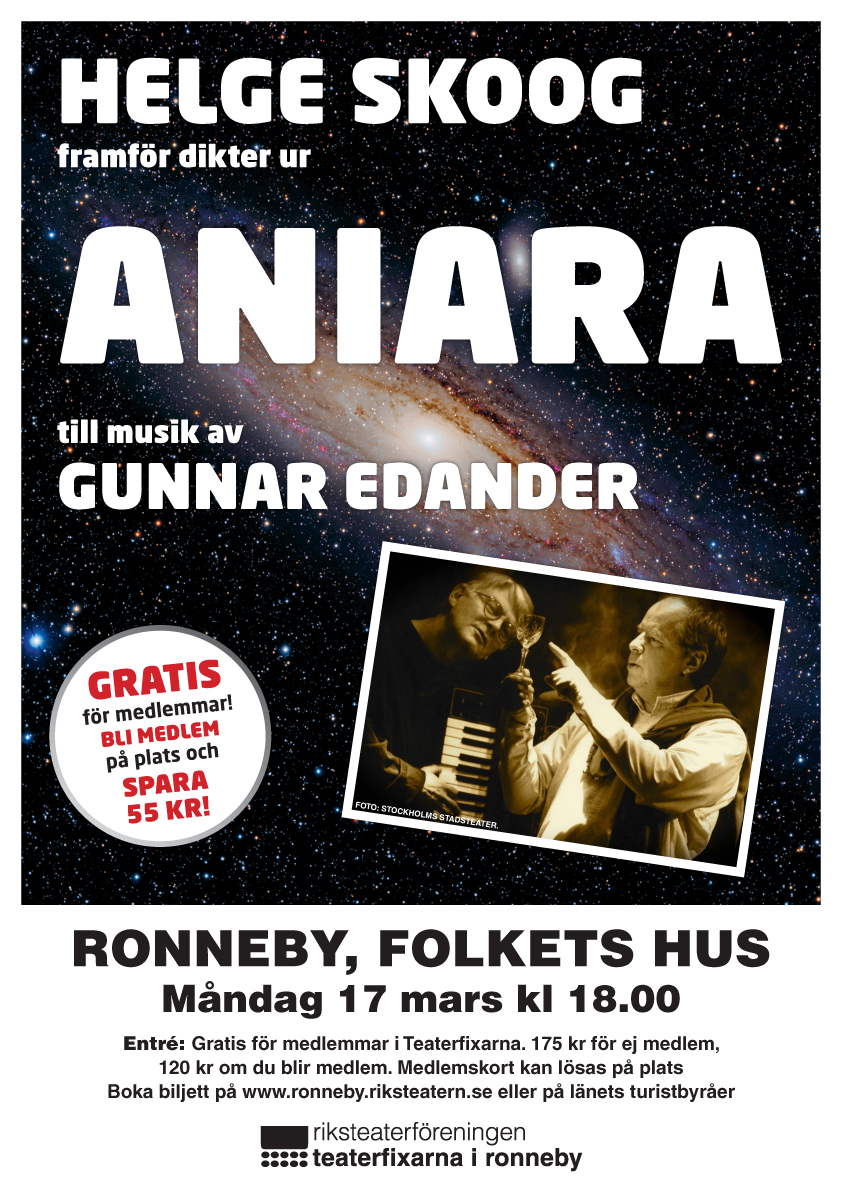 Aniara kommer till Karlshamn och Ronneby i mars.