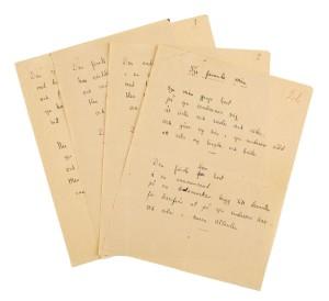 Exempel på de manuskript som ingick i utropet. Foto: Stockholms auktionsverk.