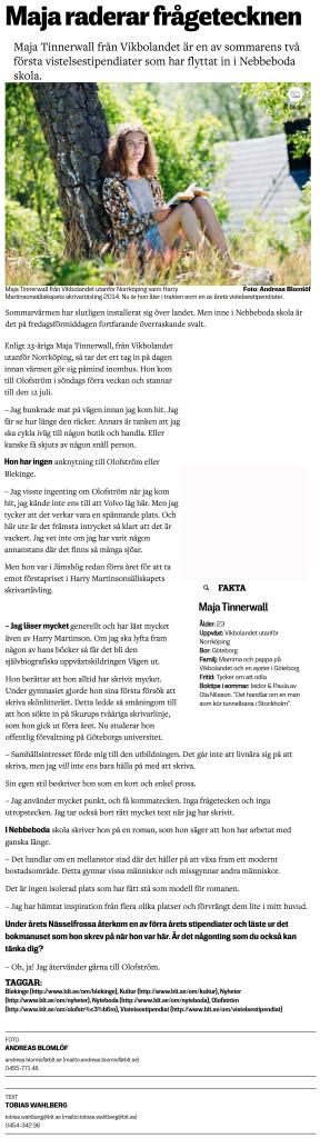 Maja raderar frågetecknen - Blekinge Läns Tidning